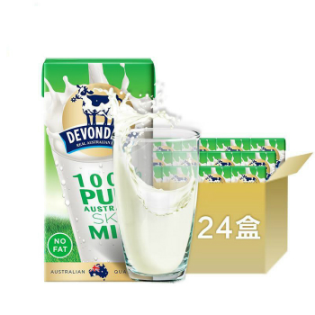 德运 脱脂纯牛奶 200ml*24盒 整箱