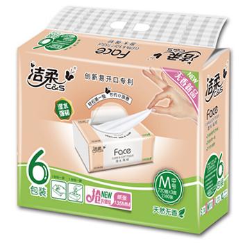 京东商城洁柔 柔韧系列3层120抽抽式面巾纸*6包