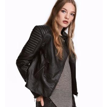 天猫双11预告:H&M 女装 宽松短款机车皮衣